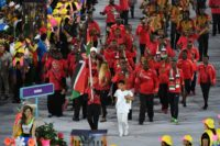 The Kenyan delegation parades during the opening ceremony of the Rio 2016 Olympic Games on August 5, 2016