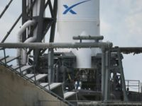 SpaceX Falcon 9 rocket sits on a launch pad in Cape Canaveral, Florida