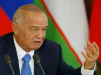 Uzbek President Islam Karimov speaks during a joint press conference with his Russian counterpart following their meeting at the Kremlin in Moscow on April 26, 2016
