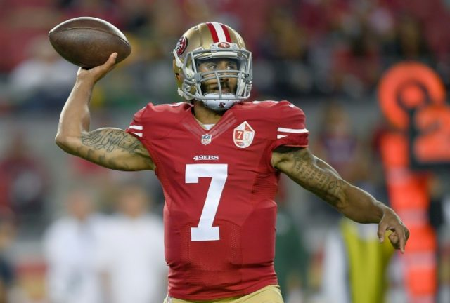 Quarterback Colin Kaepernick of the San Francisco 49ers throwing a pass against the Green Bay Packers in their preseason football game at Levi's Stadium in Santa Clara, Californiace