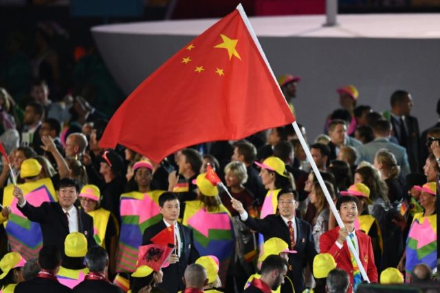Most of the Chinese flags being used at medal ceremonies at the Rio Olympics are incorrect, including the one lifted by Chinese fencer Lei Sheng at the opening ceremony