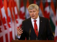 Former Canada's Prime Minister Stephen Harper speaks in Ottawa on April 15, 2015