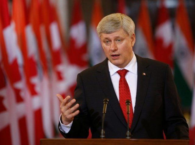 Former Canada's Prime Minister Stephen Harper speaks in Ottawa on April 15, 2015