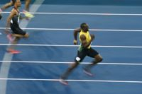 Jamaica's Usain Bolt approaches finish line in the 200m final during the Rio 2016 Olympic Games, on August 18
