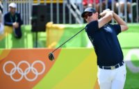 Britain's Justin Rose competes in the men's individual stroke play at the Olympic golf course during the Rio 2016 Olympic Games in Rio de Janeiro on August 11, 2016