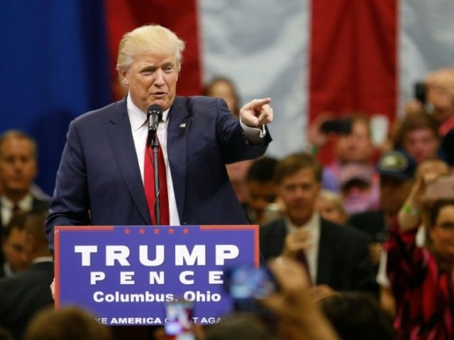 Republican presidential nominee Donald Trump speaks during a campaign rally in Columbus, Ohio on August 1, 2016