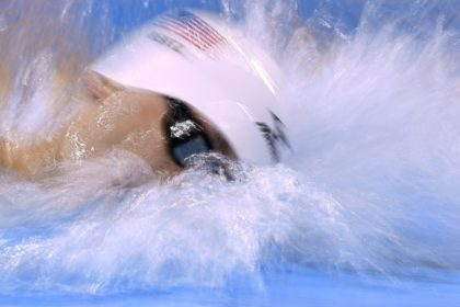 USA's Gunnar Bentz seen competing in a 4x200m freestyle relay heat during the Rio 2016 Olympic Games, on August 9