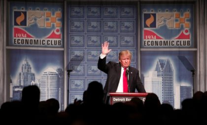 Republican presidential candidate Donald Trump delivers an economic policy address at the Detroit Economic Club on August 8, 2016