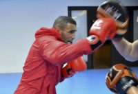 Moroccan boxer Hassan Saada, pictured in training with his coach at the Riocentro complex in Rio de Janeiro on August 1, 2016