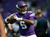 Teddy Bridgewater of the Minnesota Vikings warms up before their game against the San Diego Chargers, at US Bank Stadium in Minneapolis, Minnesota, on August 28, 2016