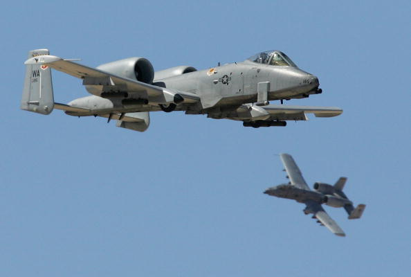 INDIAN SPRINGS, NV - SEPTEMBER 14: A pair of A-10 Thunderbolts fly by during a U.S. Air Force firepower demonstration at the Nevada Test and Training Range September 14, 2007 near Indian Springs, Nevada. (Photo by Ethan Miller/Getty Images)