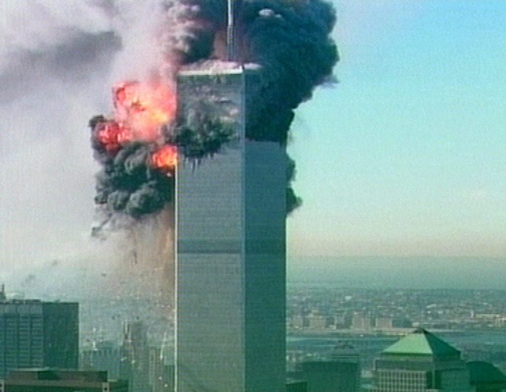 A ball of fire explodes from one of the towers at the World Trade Center in New York after a plane crashed into it in this image made from television Tuesday Sept. 11, 2001. The aircraft was the second to fly into the tower Tuesday morning. (AP Photo/ABC via APTN) TV OUT CBC OUT
