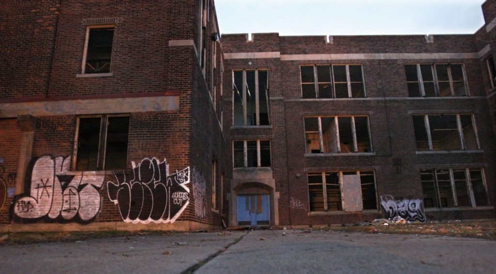 "The former Sherrard school is seen in Detroit, Monday, Dec. 7, 2009. The state-appointed financial manager for Detroit's deficit-ridden public schools said Monday he is rushing to demolish 14 vacant schools that are the ""worst of the worst"" crime-infested eyesores the shrinking district owns. ""Vacant schools across Detroit have been blights on the community and safety hazards for far too long,"" Robert Bobb said. (AP Photo/Carlos Osorio)"