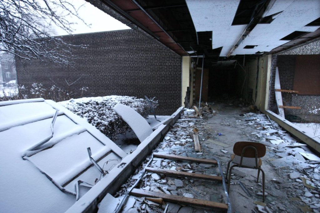 Owen elementary school is seen Friday, Jan. 8, 2010 in Detroit. A plan to shutter a quarter of Detroit's public schools in June will add 45 more empty buildings to dozens of district properties dominating already blighted neighborhoods. (AP Photo/Carlos Osorio)