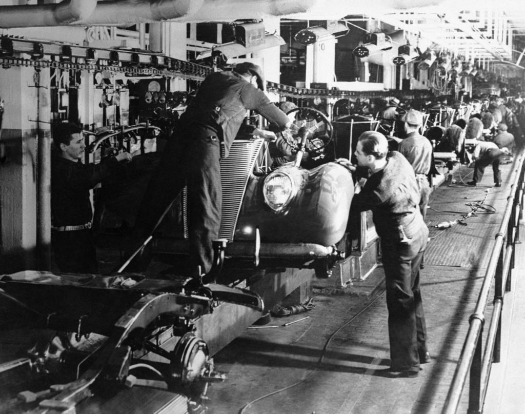 V8's on the final assembly line at the famous Ford Rouge Plant in Dearborn, Michigan, on Nov. 5, 1945. (AP Photo)