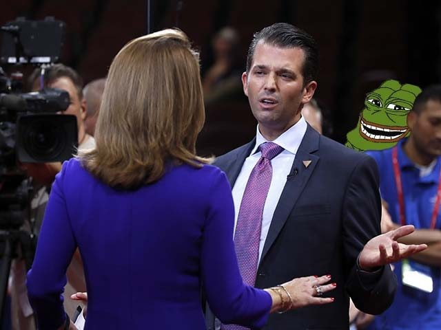 Donald Trump Jr., son of of Republican Presidential Candidate Donald Trump, talks to a reporter after his sound check before the start of the second day session of the Republican National Convention in Cleveland, Tuesday, July 19, 2016. (AP Photo/Carolyn Kaster)