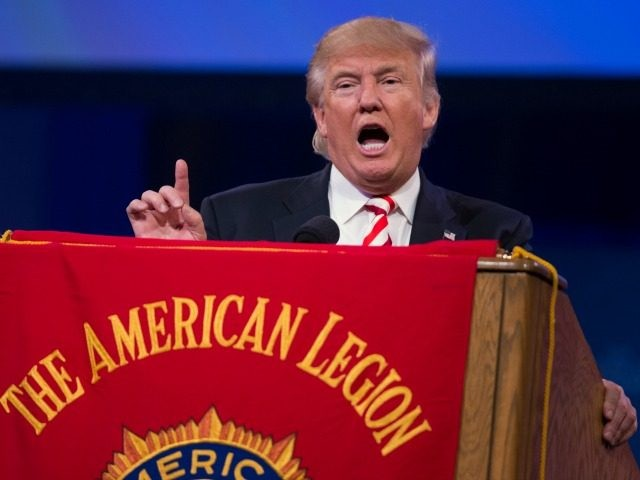 Republican presidential candidate Donald Trump gestures as he speaks to the American Legion National Convention, Thursday, Sept. 1, 2016, in Cincinnati. (