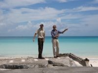 President Barack Obama and Marine National Monuments Superintendent Matt Brown visit Turtle Beach during a tour of Midway Atoll in the Papahanaumokuakea Marine National Monument, Northwestern Hawaiian Islands, Thursday, Sept. 1, 2016.