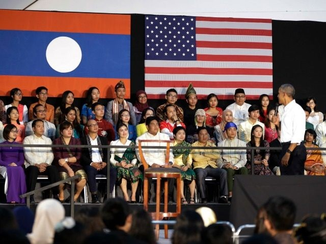 President Barack Obama looks to audience members seating behind him on stage as he speaks during town hall with Young Southeast Asian Leaders Initiative (YSEALI) at Souphanouvong University in Luang Prabang, Laos, Wednesday, Sept. 7, 2016