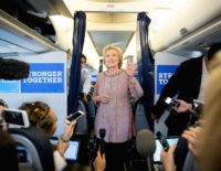 Democratic presidential candidate Hillary Clinton speaks to members of the media on her campaign plane, in White Plains, Thursday, Sept. 15, 2016, while traveling to Greensboro, N.C. for a rally. Clinton returned to the campaign trail after a bout of pneumonia that sidelined her for three days and revived questions …