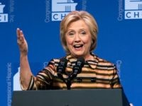 Democratic presidential candidate Hillary Clinton speaks to the Congressional Hispanic Caucus Institute's 39th Annual Gala Dinner held at the Washington Convention Center, in Washington, Thursday, Sept. 15, 2016. Clinton returned to the campaign trail after a bout of pneumonia that sidelined her for three days and revived questions about both …