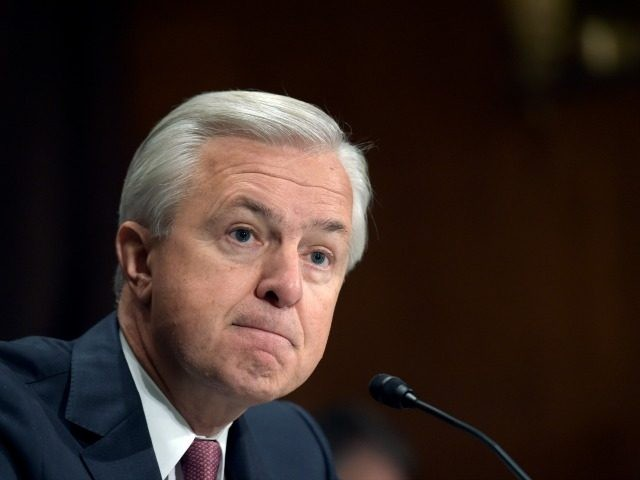 Wells Fargo Chief Executive Officer John Stumpf testifies on Capitol Hill in Washington, Tuesday, Sept. 20, 2016, before the Senate Banking Committee. Stumpf was called before the committee for betraying customers' trust in a scandal over allegations that employees opened millions of unauthorized accounts to meet aggressive sales targets. (AP …