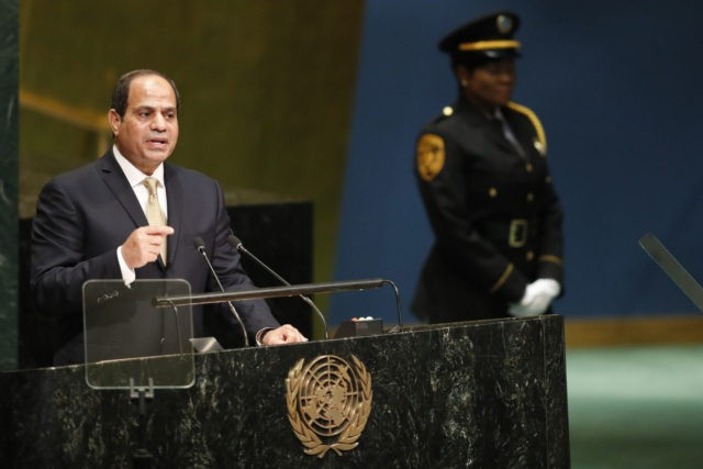 Egyptian President Abdel Fattah el-Sisi speaks during the 71st session of the United Nations General Assembly at U.N. headquarters, Tuesday, Sept. 20, 2016. (AP Photo/Mary Altaffer)