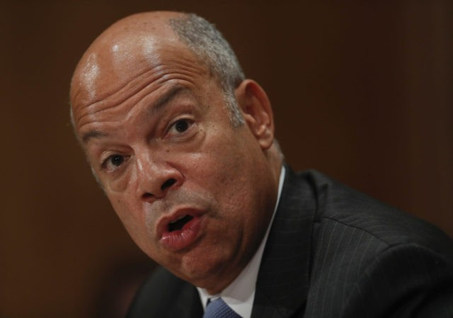 Homeland Secretary Jeh Johnson testifies on Capitol Hill in Washington, Tuesday, Sept. 27, 2016, before the Senate Homeland Security and Governmental Affairs Committee hearing on on terror threats. (AP Photo/Pablo Martinez Monsivais)