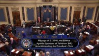 This frame grab from video provided by C-SPAN2, shows the floor of the Senate on Capitol Hill in Washington, Wednesday, Sept. 28, 2016, as the Senate acted decisively to override President Barack Obama's veto of Sept. 11 legislation, setting the stage for the contentious bill to become law despite flaws …