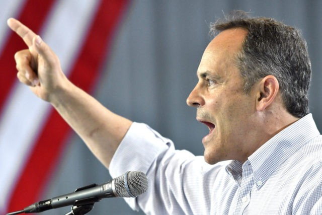 Kentucky Governor Matt Bevin attempts to make a point with the audience at the Fancy Farm Picnic, Saturday, Aug. 6, 2016 in Fancy Farm Ky. (AP Photo/Timothy D. Easley)