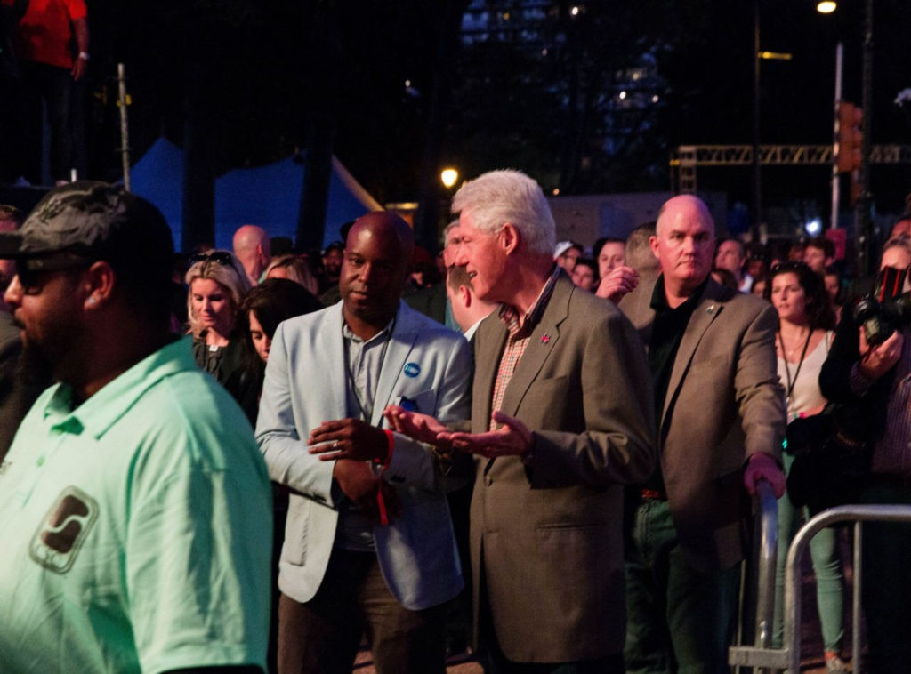 Bill Clinton is seen at The Budweiser Made In America Festival on Sunday, Sept. 4, 2016, in Philadelphia. (Michael Zorn/Invision/AP)
