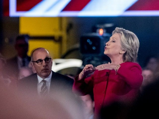 """Democratic presidential candidate Hillary Clinton, accompanied by """"Today"""" show co-anchor Matt Lauer, left, speaks at the NBC Commander-In-Chief Forum held at the Intrepid Sea, Air and Space museum aboard the decommissioned aircraft carrier Intrepid, New York, Wednesday, Sept. 7, 2016."""
