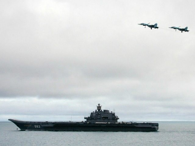 ussian aircraft-carrier Admiral Kuzhetsov is seen during a military exercises of the North Fleet, 17 August 2005. Two submarines, the Northern Fleet's flagship Pyotr Veliky cruiser and Russia's only aircraft carrier Admiral Kuznetsov, as well as long-range aircraft, were taking part in the Barents Sea manoeuvres, the first of four …