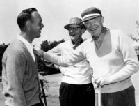 AUGUSTA, GA - 1950's: Arnold Palmer, Clifford Roberts and President Dwight D. Eisenhower share a laugh during the 1950's Masters Tournament at Augusta National Golf Club in Augusta, Georgia. (Photo by Augusta National/Getty Images)