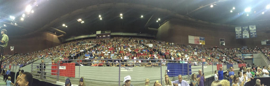 Crowd looks on as Trump speaks