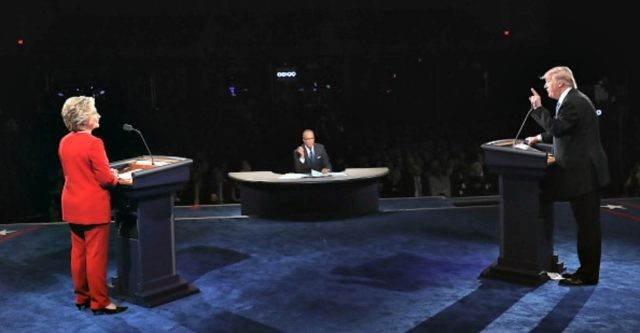 during the Presidential Debate at Hofstra University on September 26, 2016 in Hempstead, New York. The first of four debates for the 2016 Election, three Presidential and one Vice Presidential, is moderated by NBC's Lester Holt.