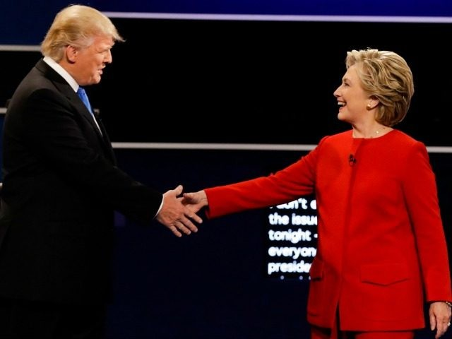 Republican presidential nominee Donald Trump and Democratic presidential nominee Hillary Clinton shake hands during the presidential debate at Hofstra University in Hempstead, N.Y., Monday, Sept. 26, 2016. (