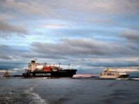 GRANGEMOUTH, SCOTLAND - SEPTEMBER 27: JS INEOS Insight, the first ship carrying shale gas from the US, arrives in the Firth of Forth en route to Grangemouth Oil refinery on September 27, 2016 in Edinburgh, Scotland. The tanker is the first of eight shipping ethane from US shale fields, in …