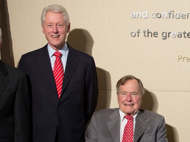 DALLAS, TX - APRIL 25: In this handout provided by the George W. Bush Presidential Center, former U.S. presidents (L-R) Jimmy Carter, Bill Clinton, George H.W. Bush, George W. Bush and President Barak Obama pose at the opening of the George W. Bush Presidential Center April 25, 2013 in Dallas, …
