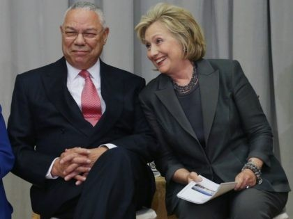 Former secretaries of state (L-R) Colin Powell and Hillary Clinton Sept. 3, 2014 in Washington, DC.