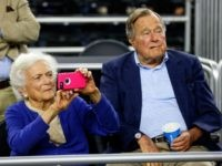 Former First Lady Barbara Bush and former President George H.W. Bush March 29, 2015 in Houston, Texas.