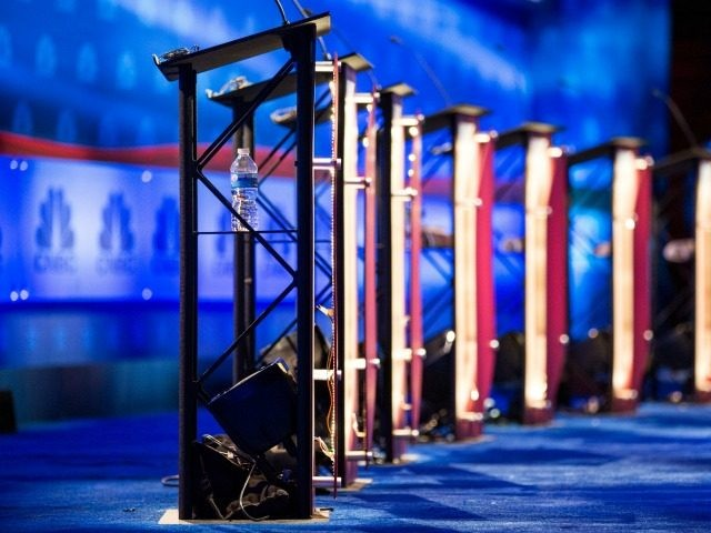 he stage is prepared for the CNBC Republican presidential debate at the University of Colorado on October 27, 2015 in Boulder, Colorado. The 14 Republican presidential candidates will take part in two debates October 28. (Photo by