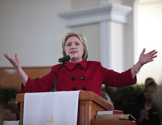 DETROIT, MI - MARCH 6:  Democratic Presidential Candidate Hillary Clinton speaks at the Russell Street Baptist Church March 6, 2016 in Detroit, Michigan. Clinton is campaigning in Michigan ahead of the primary on March 8. (Photo by Bill Pugliano/Getty Images)
