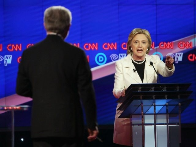 Democratic Presidential candidate Hillary Clinton answers the question by Wolf Blitzer while debating Sen. Bernie Sanders (D-VT) during the CNN Democratic Presidential Primary Debate at the Duggal Greenhouse in the Brooklyn Navy Yard on April 14, 2016 in New York City.