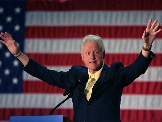 Former President Bill Clinton campaigns for his wife, Democratic presidential candidate Hillary Clinton, as he speaks during the Howard County Democratic party's pre-primary pancake breakfast at the United Auto Workers Local 685 Hall on April 30, 2016 in Kokomo, Indiana.