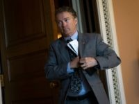 Sen. Rand Paul (R-KY) emerges from a closed-door weekly policy meeting with Senate Republicans, at the U.S. Capitol, May 10, 2016, in Washington, DC.