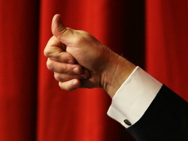 Donald Trump gives the 'thumbs-up' May 19, 2016 in Lawrenceville, New Jersey.