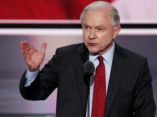 Sen. Jeff Sessions (R-AL) delivers a speech during the opening of the second day of the Republican National Convention on July 19, 2016 at the Quicken Loans Arena in Cleveland, Ohio. An estimated 50,000 people are expected in Cleveland, including hundreds of protesters and members of the media. The four-day …