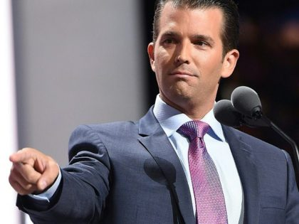 Donald Trump's son Donald Trump Jr. addresses delegates on the second day of the Republican National Convention on July 19, 2016 at the Quicken Loans Arena in Cleveland, Ohio. / AFP / Robyn BECK (Photo credit should read ROBYN BECK/AFP/Getty Images)