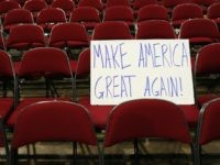 A sign seen ahead of  the third day of the Republican National Convention, July 20, 2016 in Cleveland, Ohio.